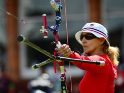 Khatuna Lorig of USA, competes in the women's individual archery bronze medal match during the London 2012 Olympic Games at Lord's Cricket Ground.