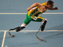 South Africa's Oscar Pistorius competes in the men's 400-meter semifinals at the International Association of Athletics Federations (IAAF) World Championships in Daegu, South Korea last year.
