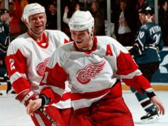This picture from 1996 shows Detroit's Sergei Fedorov and Viacheslav Fetisov, who will participate in the Winter Classic alumni game on New Years Eve.