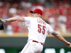 Reds starting pitcher Mat Latos during the first inning against the Pirates at Great American Ball Park.