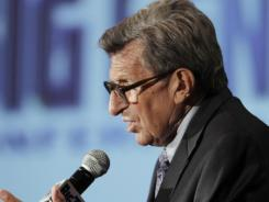 Joe Paterno, speaking during the Big Ten media days last season, was fired as Penn State football coach in November and died of cancer in January.