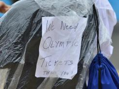 A sign asking for tickets at the London 2012 Olympic Games.