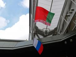 The Russian and Belarus flags fly (for silver medalist Maria Sharapova and bronze medalist Victoria Azarenka), without the American flag for gold medalist Serena Williams at the tennis medal ceremony. The flag blew off in the wind.