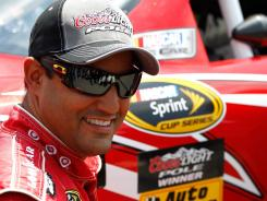 Juan Pablo Montoya reacts to his first pole of what's been a slugging 2012 season.