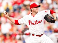 Starting pitcher Roy Halladay #34 of the Philadelphia Phillies throws a pitch during the game against the Arizona Diamondbacks at Citizens Bank Park.