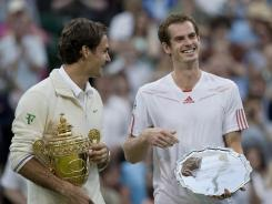 Switzerland's Roger Federer, left, and Great Britain's Andy Murray will square off in a rematch of July's epic Wimbledon final in search of Olympic gold.