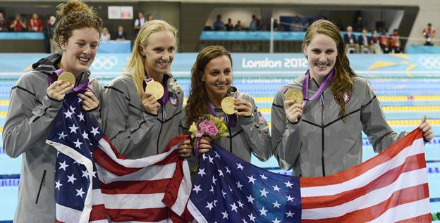 From left, Allison Schmitt, Dana Vollmer, Rebecca Soni and Missy Franklin won the medley relay, part of a dominating U.S. swimming effort.