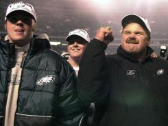 Eagles head coach Andy Reid, seen here on Dec. 30, 2001 with sons Garrett and Britt, suffered a tragic loss at training camp at Lehigh University Sunday morning.