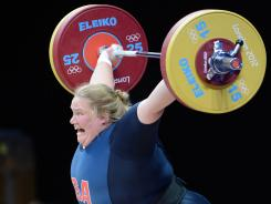 Holley Mangold of the USA lifts at ExCeL-South Arena 3.