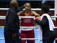 Queen Underwood after her loss to Natasha Jonas of Great Britain during their women's lightweight preliminaries on Sunday.