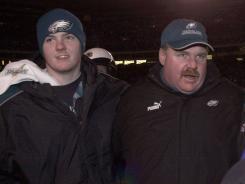 Garrett Reid, left, the son of Eagles coach Andy Reid, shown 2000, was found dead Sunday.