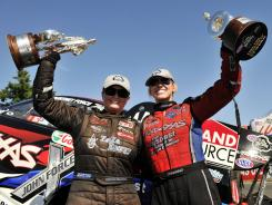 Erica Enders, left, and Courtney Force celebrate their victories Sunday at the O'Reilly Auto Parts NHRA Northwest Nationals.