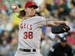 Jered Weaver pitched a beauty Monday night to lead the Angels past the A's.