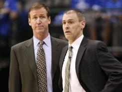 Terry Stotts, left, with Mavericks coach Rick Carlisle during the 2011 Western Conference finals, was previously a head coach with the Atlanta Hawks and Milwaukee Bucks.