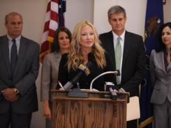 Centre County District Attorney Stacy Parks Miller speaks during a press conference Wednesdayat the State College municipal building.