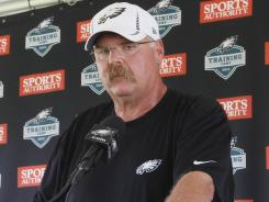 Philadelaphia Eagles coach Andy Reid addresses the media at training camp Wednesday, Aug. 8, 2012, at Lehigh University in Bethlehem, Pa.
