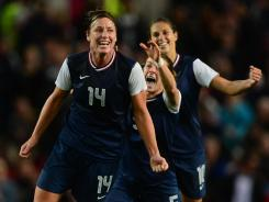 Abby Wambach, left, and fellow forward Alex Morgan have combined for eight of the U.S. team's 14 Olympic goals.
