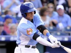 Future is now?  Manny Machado, hitting a two-run double in the All-Star Futures Game on July 8, started at third base for the Orioles on Thursday.