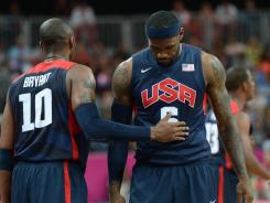USA guard Kobe Bryant (10) andforward LeBron James (6) congratulate each other during the game against Argentina during the London 2012 Olympic Games.