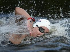 Haley Anderson of the USA swims to a silver medal in the women's open water 10K event Thursday at Hyde Park.