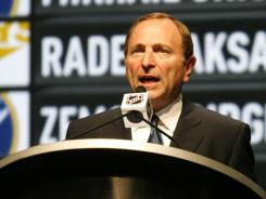 NHL Commissioner Gary Bettman on stage at the 2012 NHL draft.