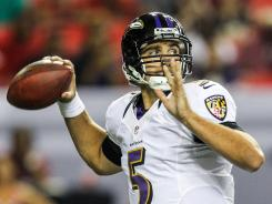 Baltimore Ravens quarterback Joe Flacco throws a pass in the first half against the Atlanta Falcons at the Georgia Dome.