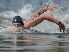 Alex Meyer swims in the men's open water 10K during the London Olympics at Hyde Park on Friday.