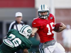 Jets backup QB Tim Tebow (15) is looking forward to competing against someone other than his teammates.