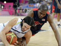 If three-on-three basketball is added to the Olympic program, it likely will be no less intense than the action in this game between the USA and Argentina.