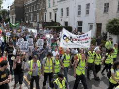 "A group of about 500 protesters marched in east London on July 28 against what they described as a ""corporate takeover"" of the Games and ""repressive"" security measures taken to protect the global sporting spectacle. No one was arrested."