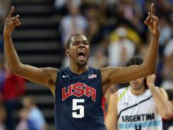 U.S. guard Kevin Durant (5) reacts Friday during the men's basketball semifinals against Argentina.