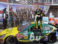 Carl Edwards celebrates his Nationwide Series victory in the Zippo 200 at Watkins Glen.