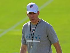 Miami Dolphins coach Joe Philbin looks on during practice at the Dolphins training facility on July 27, 2012.