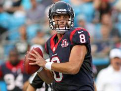 Houston Texans quarterback Matt Schaub looks to pass against the Carolina Panthers at Bank of America Stadium in Charlotte, N.C.
