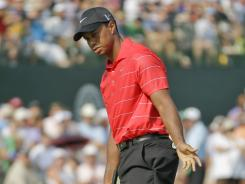 Tigers Woods started the third round of the PGA Championship on Saturday tied for the lead, and finished the round early Sunday five behind leader Rory McIlroy at Kiawah Island, S.C., after missing a putt for birdie here on the 18th.