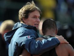 Ashton Eaton, right, is congratulated by Bruce Jenner after setting a decathlon world record of 9,309 points in the 2012 U.S. Olympic Team Trials at Hayward Field.