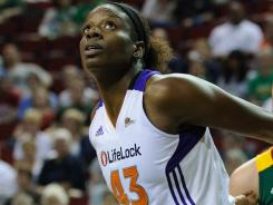 Mercury center Nakia Sanford (43), shown in a WNBA game July 8, battled Phoenix Mayor Greg Stanton for a rebound in practice Monday, leaving him with a broken nose.