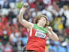 Nadzeya Ostapchuk (BLR) competes in the women's shot put finals during the London 2012 Olympic Games at Olympic Stadium.