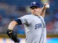 Padres pitcher Eric Stults worked his longest start in three years, allowing five hits in the 4-1 win.
