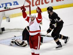 Johan Franzen and the Red Wings' Game 7 win against the Ducks in 2009 sent Anaheim GM Bob Murray into a fit of anger where he injured her, Rachel Paris says in a lawsuit.