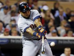 The Tigers Miguel Cabrera got his 100th RBI of the season with a seventh-inning single off Twins pitcher Casey Fien.