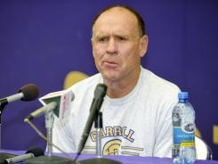 Carroll College head coach Mike Van Diest during an NAIA news conference Tuesday.