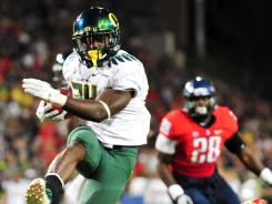 Oregon Ducks running back Kenjon Barner rushed for 939 yards in 2011.