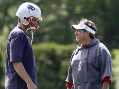 Patriots quarterback Tom Brady, left, and coach Bill Belichick have won three Super Bowls together.