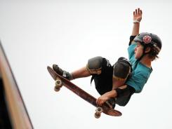 Tom Schaar competing in the Skateboard Vertical event at the Kia X-Games Asia 2012 at the Jiangwan Sports Centre in Shanghai on May 1.