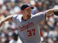 Nationals pitcher Stephen Strasburg struck out seven and walked four in six innings to win his third straight start.