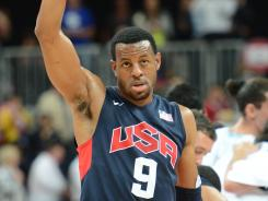 Andre Iguodala, shown Aug. 6, helped the USA win gold at the London Olympics and was traded to the Nuggets this month.