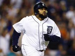 The Tigers' Prince Fielder watches his two-run homer to right during the eighth inning. Fielder also hit a two-run homer in the sixth.