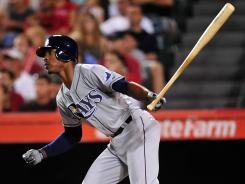The Rays' B.J. Upton, hitting a two-run single in the fourth inning, went 4-for-5 with three RBI and a solo home run.