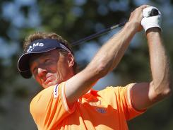 Bernhard Langer, of Germany, shot a 7-under 65 Saturday to tie for the lead at a Champions Tour event.